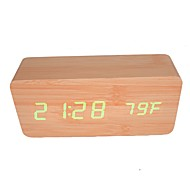 cheap -RayLineDo® Latest Design Fashion Bamboo Wood Green LED Light Wooden Digital Alarm Clock -Time Temperature Date Display - Voice and Touch Actived