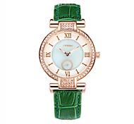 cheap -SINOBI Women's Simulated Diamond Watch Fashion Watch Quartz Water Resistant / Water Proof Leather Band Green