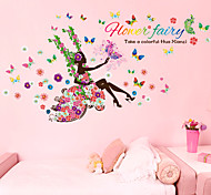 cheap -People Fashion Florals Wall Stickers Plane Wall Stickers Decorative Wall Stickers, Paper Home Decoration Wall Decal Wall
