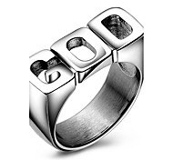 Punk Casual Fashion Stainless Steel GOD Tide Women Ring Charm Ring For Men 316L Titanium Steel Party Rings Gift