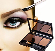 1Pcs New Professional Kit 3 Color Eyebrow Powder Shadow Palette Enhancer With Ended Brushes