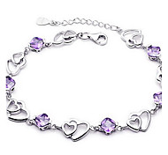 cheap -Women's Crystal Sterling Silver Crystal Chain Bracelet - Basic Love Fashion Jewelry Purple Bracelet For Wedding Party Gift