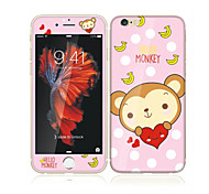 cheap -For Apple iPhone 6s/6 4.7 Tempered Glass with Soft Edge Full Screen Coverage Front Screen Protector and Back Protector Monkey Cartoon Pattern