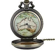 Pocket Watch Necklace Watch Quartz Alloy Band Vintage World Map Bronze