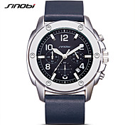 SINOBI Fashion Watch Quartz Water Resistant / Water Proof Noctilucent Shock Resistant Genuine Leather Band Casual Navy