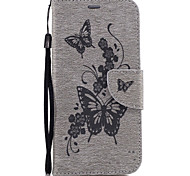 For Samsung Galaxy S7 Edge S7 PU Leather Material Peach Butterfly Pattern Solid Color Phone Case