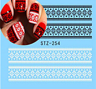 1pcs Nail Art Watermark Sticker Black White Lace Water Transfer Decals Nail Art Polish Beauty Decoration STZ-254