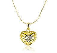 Mujer Collares con colgantes Collares de cadena Circonita Forma de Corazón Zirconio Chapado en Oro 18K de oro Legierung Diseño Básico