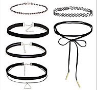 cheap -Round Bowknot Unique Design Tattoo Style Basic Sexy Handmade Choker Necklace Rhinestone AAA Cubic Zirconia Lace Flannelette Fabric Alloy