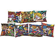 cheap -Set of 7 Romero Britto pattern Linen  Cushion Cover Home Office Sofa Square  Pillow Case Decorative Cushion Covers Pillowcases