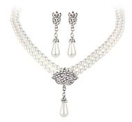 preiswerte -Imitierte Perlen Perle Schmuck-Set 1 Halskette / 1 Paar Ohrringe - Weiß Für Party / Normal