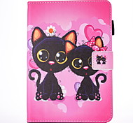 For IPad Air 2 Air Case Cover Two Cats  Pattern PU Skin Material Flat Protective Shell