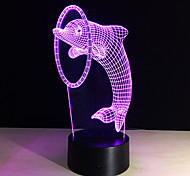 7Colors 3D Illusion Led Light Dolphin Lamp Table Novelty Products Christmas Wedding Party Decor Lights Children Gifts