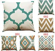 Set of 6 Simple geometric pattern   Linen Pillowcase Sofa Home Decor Cushion Cover (18*18inch)