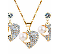 cheap -Women's Rhinestone Imitation Pearl Rhinestone Heart Jewelry Set 1 Necklace 1 Pair of Earrings - Basic Heart White Jewelry Set For Wedding