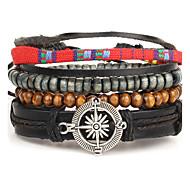 Men's Wrap Bracelet Leather Bohemian Star Black Jewelry 1pc