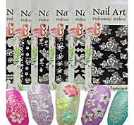 cheap -1pcs New 3D Nail Art Sticker Micro-carving Printing Pattern Colorful Design Beautiful Flower Sweet Lace Design Nail Beauty Nail Art Tip DP201-210