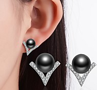 cheap -Women's Imitation Pearl Imitation Pearl / Black Pearl Stud Earrings - Classic / Rhinestone White / Black Earrings For Wedding / Party /