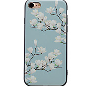 For White Flowers Pattern Relief Black TPU Soft Phone Case for iPhone 7 Plus 7 6 Plus 6 SE 5