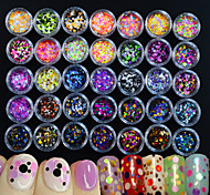 cheap -35bottles/set Hot Fashion Mixed Colorful Nail Art Glitter Round Paillette Beautiful Colored Thin Slice Sparkling Design Nail DIY Decoration P1-35