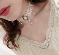 Sweet Lolita Necklace Vintage Inspired White Lolita Accessories Necklace Solid For Polyester Metal