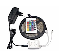 RGB LED Strip 5050 SMD 300LEDs 5M LED String Lamp 24 Keys IR Remote Controller DC 12V 3A Adapter Power