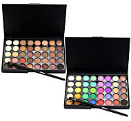 abordables -40 Color Eyeshadow (2 Color Set to Choose)+ 1 Eyeshadow Brush Sombras de Ojos Pinceles de Maquillaje Seco Mate Brillo Ojo Rostro