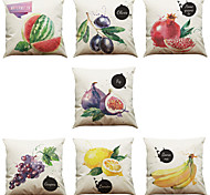 Set of 7 Hand Painted Fruit Pattern Linen  Cushion Cover Home Office Sofa Square  Pillow Case Decorative Cushion Covers Pillowcases As a Gift
