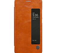 Для с окошком С функцией автовывода из режима сна Флип Кейс для Чехол Кейс для Один цвет Твердый Искусственная кожа для HuaweiHuawei P10