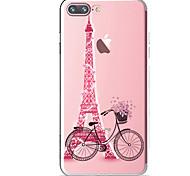 Para iPhone X iPhone 8 iPhone 8 Plus Case Tampa Transparente Estampada Capa Traseira Capinha Torre Eiffel Macia PUT para Apple iPhone X