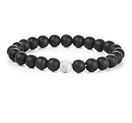 Men's Strand Bracelet Multi-stone Natural Fashion Gold Plated Round Jewelry For Gift Sports 1pc