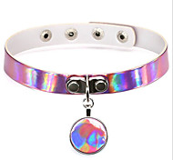 New Harajuku Punk Rock Gothic PU Leather Choker Necklace Reflective Laser Round Pendant Collar Necklace For Women Jewelry