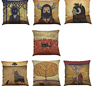 cheap -Set of 7 Forest Illustrator Pattern Linen  Cushion Cover Home Office Sofa Square  Pillow Case Decorative Cushion Covers Pillowcases As a Gift
