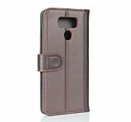 cheap -Case For LG Card Holder Wallet Flip Full Body Cases Solid Color Hard Genuine Leather for LG G6