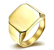 baratos -Mulheres Anel Anel de noivado Moda Estilo simples Casamento Aço Titânio Quadrado Jóias Para Casamento Festa Ocasião Especial Aniversário