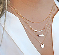 cheap -Women's Circle Shape Personalized Multi Layer Fashion Chain Necklace Pearl Necklace Layered Necklace Pearl Alloy Chain Necklace Pearl