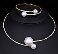 cheap -Women's AAA Cubic Zirconia Jewelry Set - Fashion Include Pearl Necklace Gold / Silver For Wedding / Party / Engagement