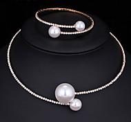 cheap -Women's AAA Cubic Zirconia / Imitation Pearl Jewelry Set 1 Necklace / 1 Bracelet - Multi-ways Wear / Fashion Round Silver Jewelry Set /