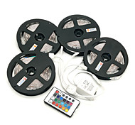 cheap -ZDM® 4x5M RGB Strip Lights Light Sets 4x150 LEDs 1 44Keys Remote Controller 1x 1 To 4 Cable Connector RGB Cuttable Self-adhesive 12V 1set