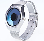 Men's Fashion Watch Wrist watch Unique Creative Watch Chinese Quartz Large Dial Metal Band Creative Casual Silver