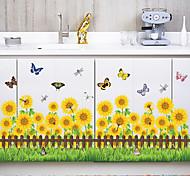 ботанический Мода Цветы Наклейки Простые наклейки Декоративные наклейки на стены Линейка роста,Бумага материал Украшение домаНаклейка на