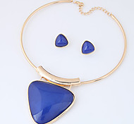 Women's Jewelry Set Fashion Euramerican Costume Jewelry Resin Alloy Triangle Shape 1 Necklace 1 Pair of Earrings For Party Daily Wedding