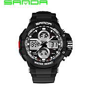 Недорогие -SANDA Мужской Спортивные часы Нарядные часы электронные часы Кварцевый ЦифровойКалендарь Защита от влаги С двумя часовыми поясами тревога