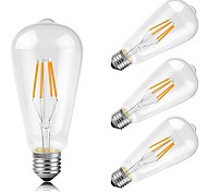 cheap -4pcs 4W 400lm E26 / E27 LED Filament Bulbs ST64 4 LED Beads COB Decorative Warm White 220-240V