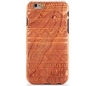 baratos -Para apple iphone 6 6s em relevo padrão caso de volta tampa caso grão de madeira padrão geométrico sólida madeira sólida