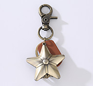 The New Ounk Man's Vintage Cowhide Alloy Key Ring With Five Star Key Ring