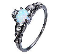 cheap -Women's Statement Rings Ring Engagement Ring Synthetic Opal Personalized Geometric Love Heart Fashion Euramerican Copper Gold Plated