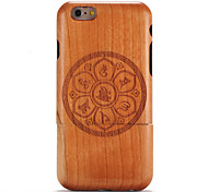 Для яблока iphone 6 6s тисненый узор случае задняя обложка дела древесина мандала твердая цельная древесина