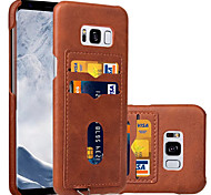 For Samsung Galaxy S8 Plus S8 Case Cover Card Holder Back Cover Solid Color Hard PU Leather
