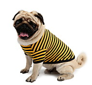 cheap -Dog Shirt / T-Shirt Dog Clothes Stripe Yellow Pink White/Blue Cotton Costume For Pets